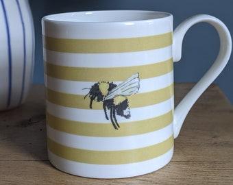 Fine Bone China Stripy Bee Mug