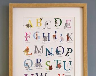 A3 Animal Alphabet Print, Nursery Wall Art