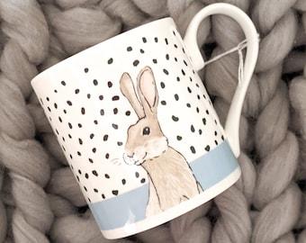 Fine Bone China Polka Dot Bunny Rabbit Mug