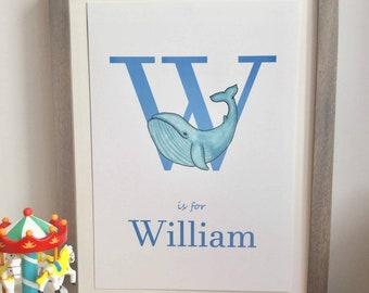 Personalised Name Print, Animal Name Print, Nursery Wall Name Art