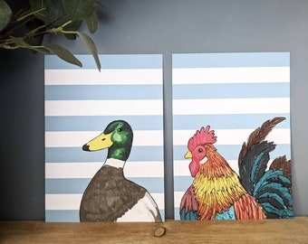 A4 Duck with Blue Stripes Print, Children's Bedroom Wall Art, Animal Print