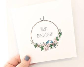Anniversary Card, Love Birds Card, Blank Anniversary Card