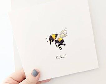Bee Mine Valentine's card, Bee Valentine's card, Bee Card, Bee Anniversary Card, Valentines Card For Him/Her