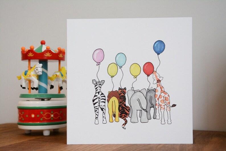 Childrens Birthday Card Safari Birthday Card Animal Birthday image 0