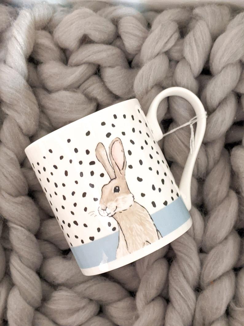Fine Bone China Polka Dot Bunny Rabbit Mug image 0