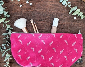 Pink Goose And Feather Print Cosmetics Bag, Wash Bag, Make-up Bag, Mother's Day Gift