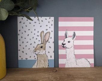 A4 Llama with Pink Stripes Print, Children's Bedroom Wall Art, Animal Print