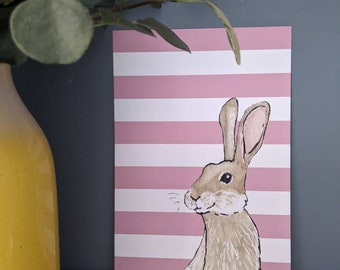 A4 Bunny Rabbit with Pink Stripes Print, Children's Bedroom Wall Art, Animal Print