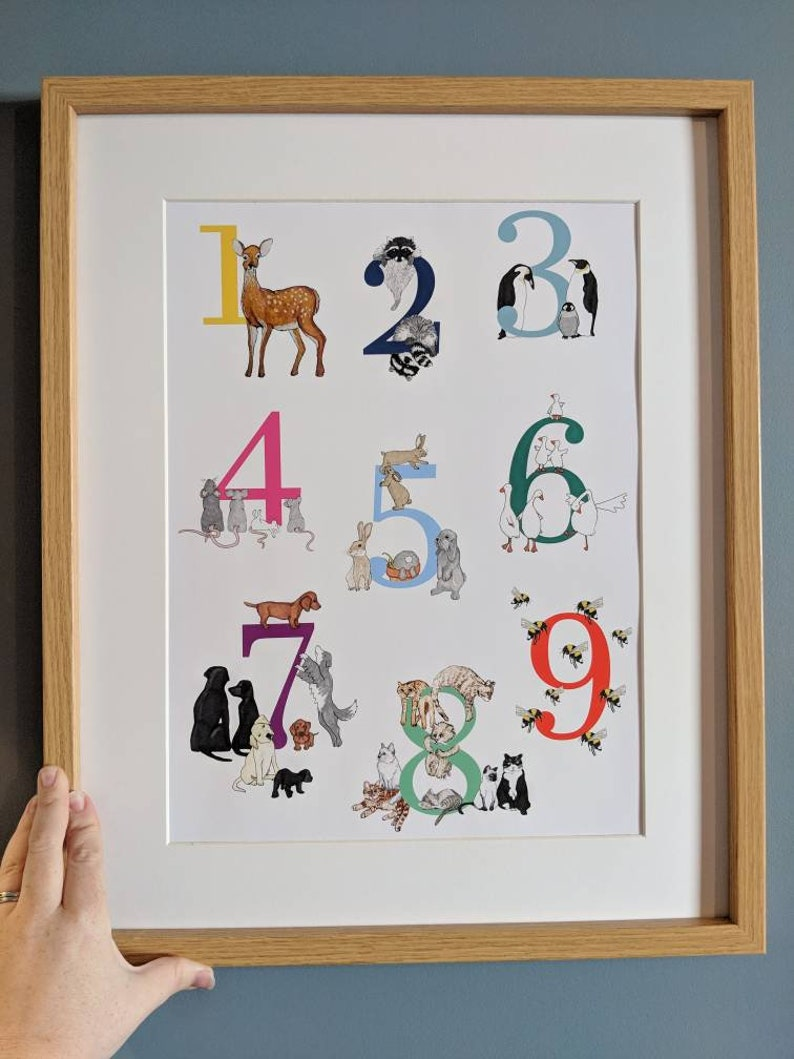 Number Poster Nursery Wall Art Bright Colourful Nursery image 0