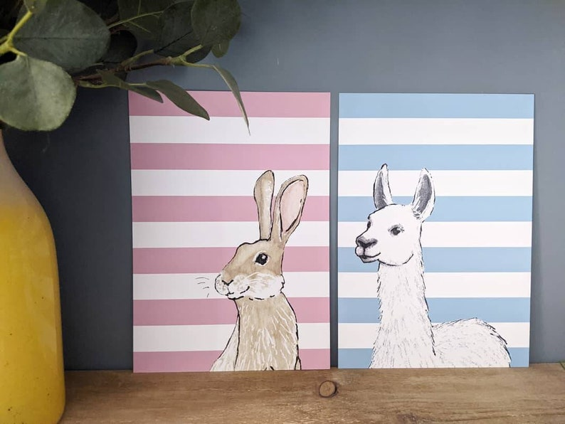 A4 Llama with Blue Stripes Print Children's Bedroom Wall image 0