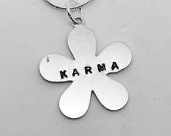 Karma- Flower Necklace - Gift- Ethical- Vegan- Eco friendly- Recycled- plant based- jewellery- vegan jewelry-personalised