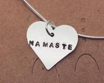 Namaste Heart Necklace-Gift- Ethical- Vegan- Eco friendly- Recycled- plant based- jewellery- vegan jewelry-personalised