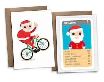 Cycling Santa Christmas Cards (Pack of 5)