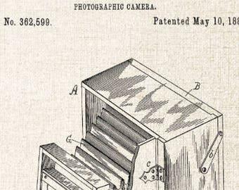 Antique Camera Patent Art Print, Home Decor Wall Art Poster, Photographic Camera Blueprint Art, Original Camera Patent, Studio Wall Art