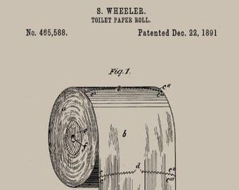 Toilet blueprint etsy antique 1800s toilet paper roll patent art print toilet roll blueprint art bathroom decor malvernweather Image collections