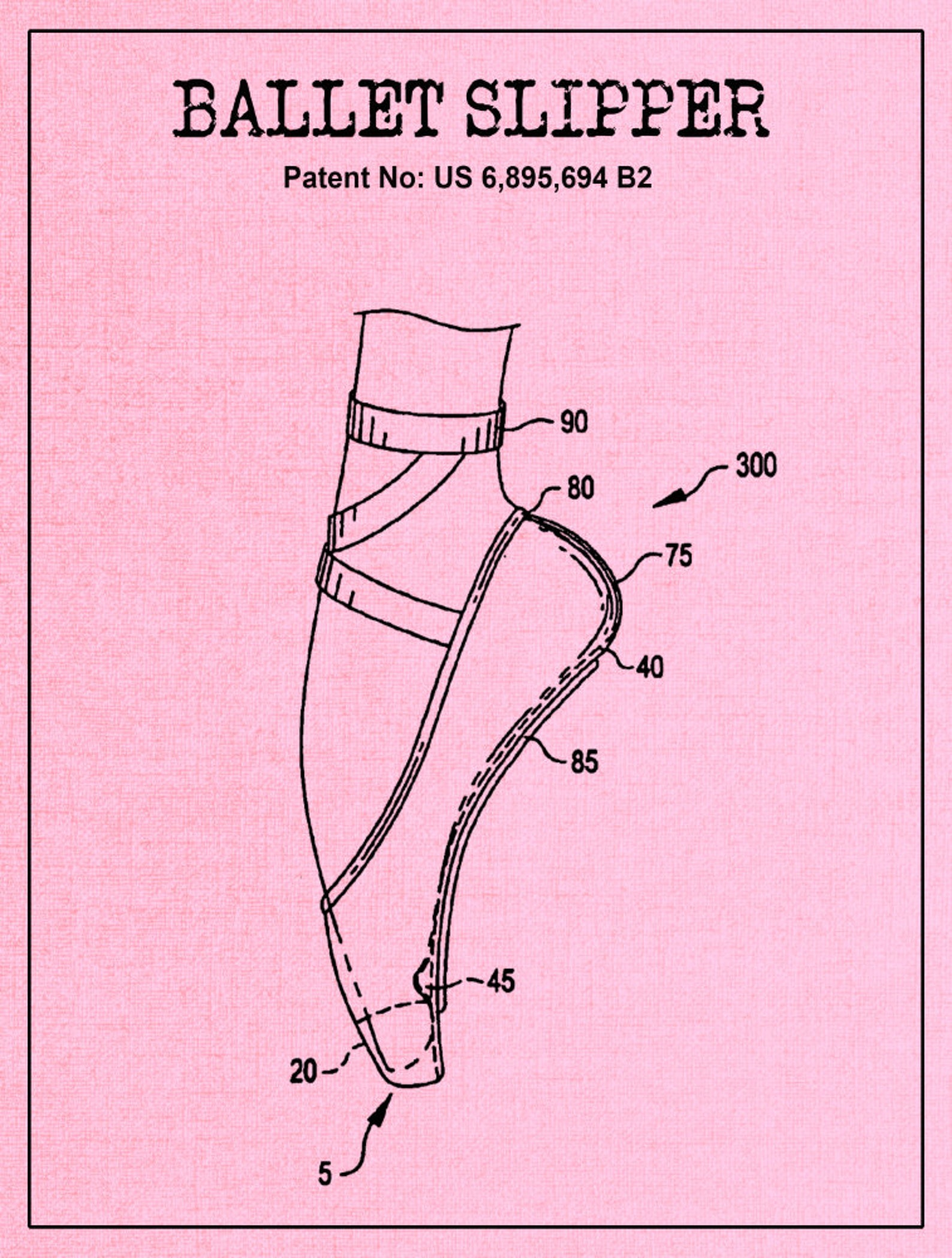 ballet slipper dance shoe patent, pointe shoe blueprint, ballerina flats, dance studio, gift for daughter, dance art print, toe