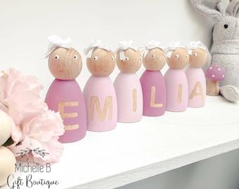 Personalised name floral crown doll pegs dolls peg bedroom accessories girls shelf decor nursery decor girls bedroom