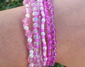 Pink beaded bracelet stack set of 6