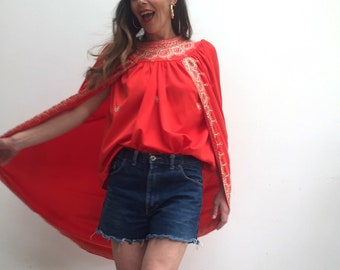 Red festival vintage cloak cape with gold embroidery