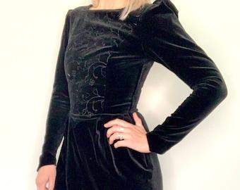 Laura Ashley 1980s black cotton velvet embroidered dress / long sleeve / size 10 /  UK size 12