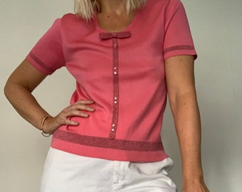 1960s Fine knit stretch pink vintage top with bow detail / lurex detail / Size M