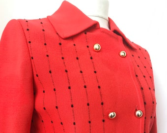 Pigalle 1960s pillar box red double breasted vintage cardigan jacket size 38 size 10