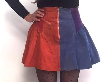 1980s suede patchwork vintage mini skirt size 10 / 12