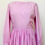 Pretty pink vintage cotton long sleeve full skirt dress size 10 size 12