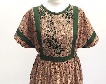 Gorgeous 70s vintage smock tunic dress size M