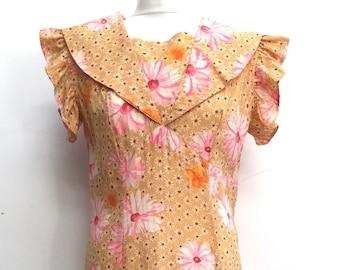 Vintage handmade cotton floral dress size 12