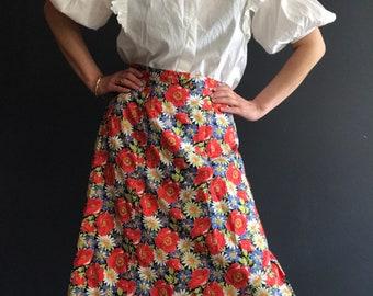 Vintage floral skirt UK size 16-18