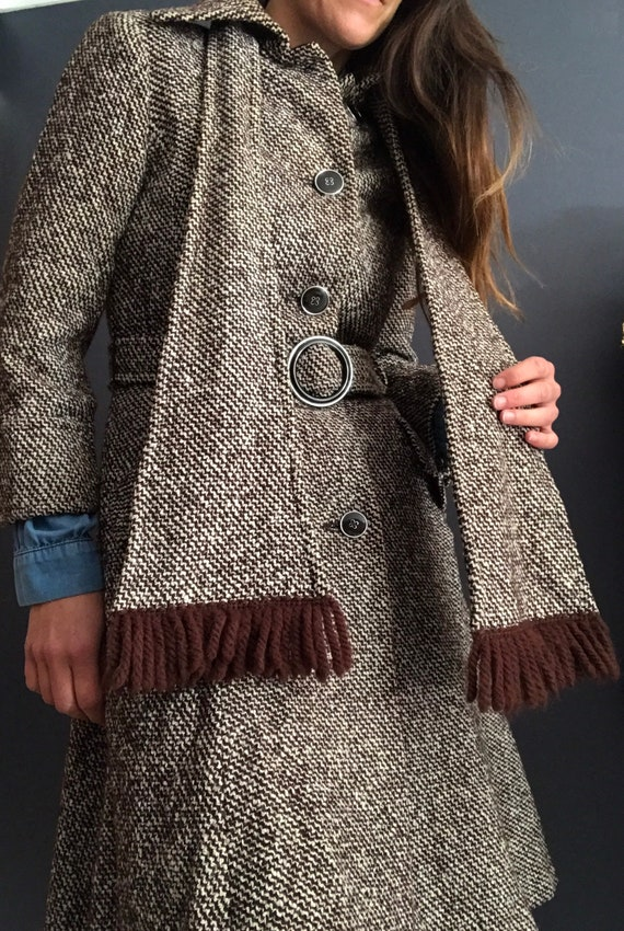 Seventies tweed wool belted coat
