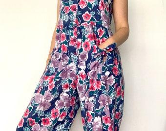 Vintage Laura Ashley jumpsuit / blue purple floral / 1980s / size Medium