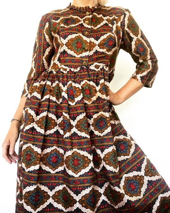 Vintage 60s boho cotton shirt waist dress