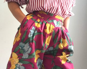 Vintage 1980's silk tropical high waisted culotte style shorts