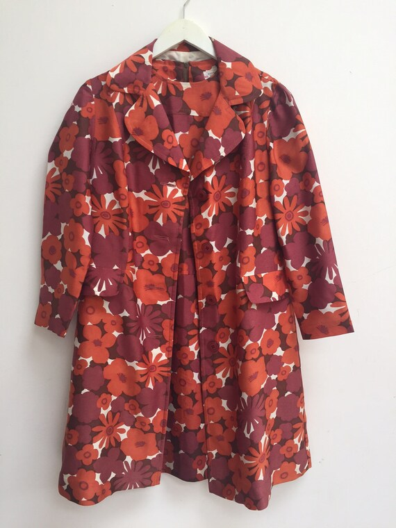 1960s orange red Floral Co-Ord vintage Two Piece s