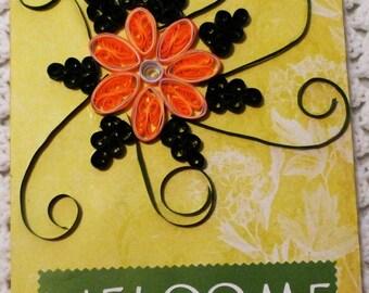 Quilled Flower Welcome wall Art,  Flower Handmade Wall Decor Keepsake Wall Card, Made in the USA, #17