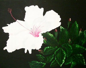 """Oil Painting, Original Painting, 14x18 Painting, Floral Painting, """"White Hibiscus"""",  Made in the USA, #7"""