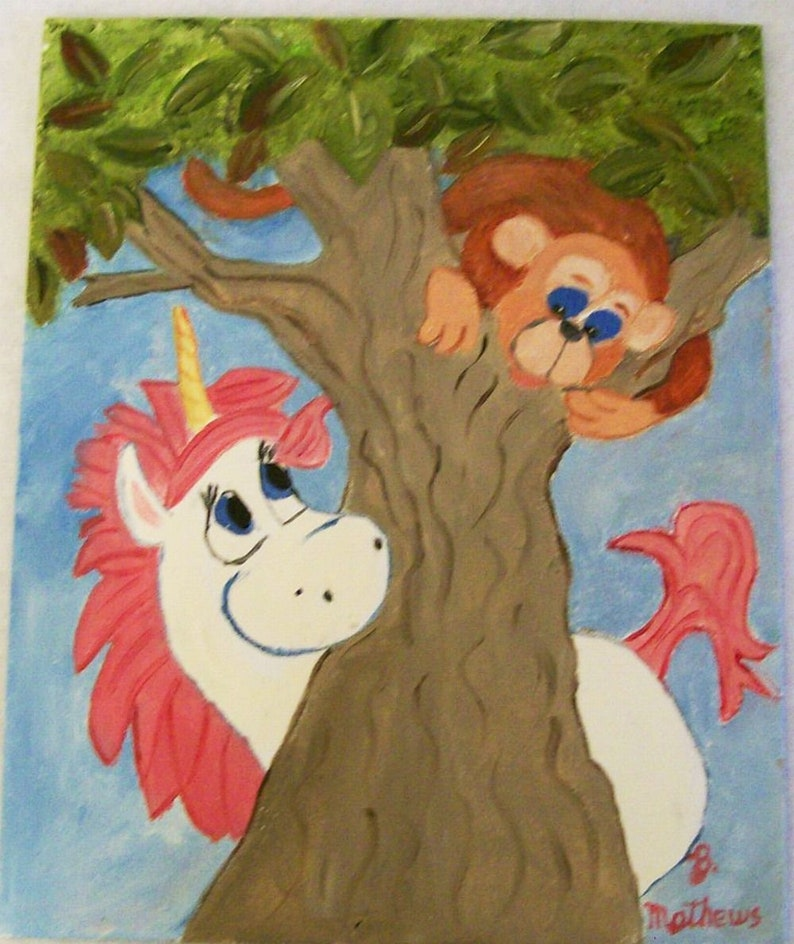 Monkey And Unicorn Kids Wall Hanging 8x10 Canvas Board Oil Etsy