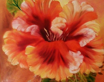 """Oil Painting, Original Painting, 16x20 Painting, Floral Painting, """"Hibiscus"""",  Made in the USA,  #4"""