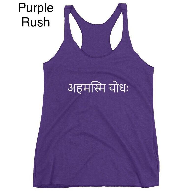womens tank Yogi I am a Warrior Sanskrit Text Women/'s Racerback Tank Yoga tank Yoga clothes