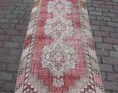3x9 -2 39 7 39 39 x8 39 7 39 39 ft,266x82cm.free shipping,Turkısh handmade,runner carpet,Distressed oriental,decor,antique,interiors,red,beige,art,rug z174