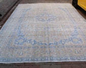 Antique patterned design 10 39 0 39 39 x13 39 6 39 39 feet Turkish gorgeous vintage carpet Distressed tebriz decor blue Abstract interiors free shipping