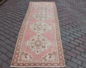 3x9 -3 39 0 39 39 x8 39 6 39 39 ft,263x91cm.free shipping,Turkısh handmade,runner carpet,Distressed oriental,decor,antique,interiors,pink,green, art az200