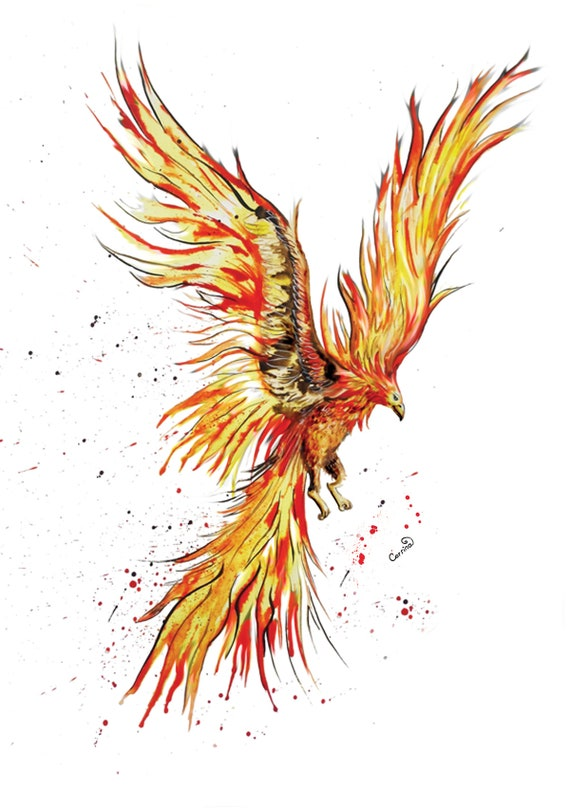 Abstract Fantasy Fire Phoenix 1 Piece Canvas Print Wall Art