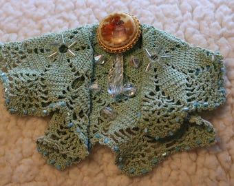 Upcycled doily brooch