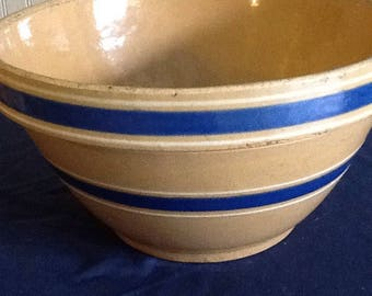 Vintage Mixing Bowl - Yellow and Blue Stripes