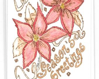 Season's Greetings - Poinsettia - Christmas Card/Pyrography/Greeting Cards/Poinsettia/Season's Greetings