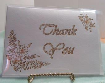 Floral Spray Border – Thank You Card - Pyrography