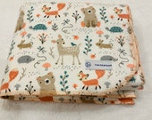 Woodland buddies baby blanket receiving blanket double layered flannel deer, fox, bear baby blanket